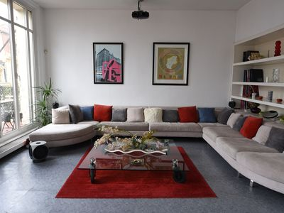 Photo for 250m2 loft, large balcony, double garage, canopy, home theater, air conditioning, light, quiet, zen.
