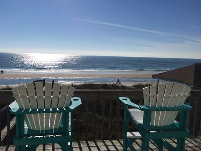 We have 4  Adirondack chairs to view the beautiful beach and ocean.