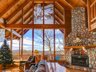 Photo for Mountainside cabin w/ shared pool, private hot tub & wood fireplace