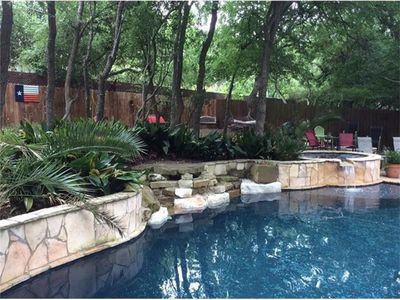 Photo for Comfortable Home Near Campus Hill Country Views w two bedrooms. Backyard oasis.