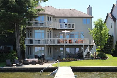 3 Levels of Fun! Rear of house looking on to private Dock. Seating for everyone.