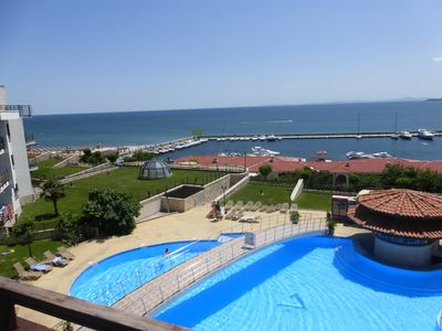 Photo for 3rd floor apartment with panoramic sea views. Overlooks pool & beach.