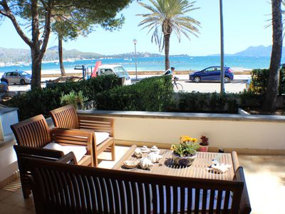 Photo for Beautiful, ground floor, sea front property with large furnished terrace