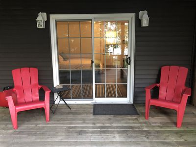 Private locked entrance & sitting area.