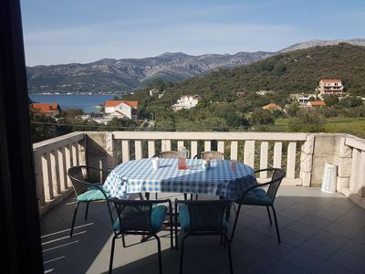 Photo for Three bedroom apartment with terrace and sea view Cove Vrbovica bay - Vrbovica (Korčula)
