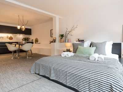 Photo for Cosy and modern studio apartment, for two people, situated close to the Amstel River in a rewarding