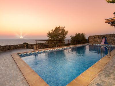 Photo for Sea Views Villa Lefkothea with Private Pool for Families+Children Area!Sea views
