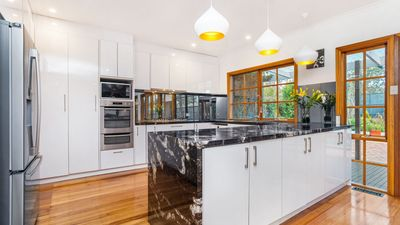 Gorgeous granite new large kitchen with modern applicances.