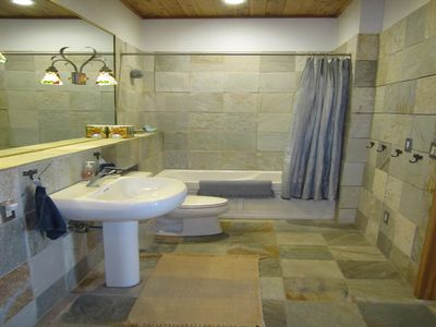 The Bathroom has Grohe fixtures and Koehler low water use toilet.