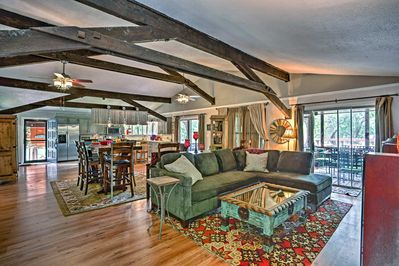 High ceilings and an open floor plan make the vacation rental home inviting.