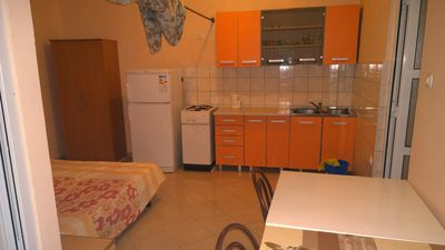 Photo for Studio apartment: double bed; 1 bunk bed; with terrace; tiles; kitchen niche; kitchen utensils, pots