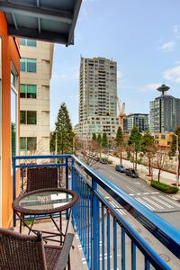 Patio with city view, condo is strategically located in downtown Seattle!