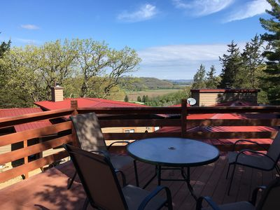 View to Wisconsin River. Deck overlooks guest suite to right, main house to left