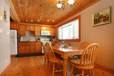 Lakefront Muskoka Cottage with Beautiful Lake View - Kitchen with Dining Table.JPG