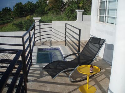The plunge pool is ideal for relaxing in and taking in the view.
