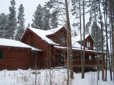 Photo for Peak 7 Log Home, Sleeps 14, Large Screen TVs, hot tub, wifi