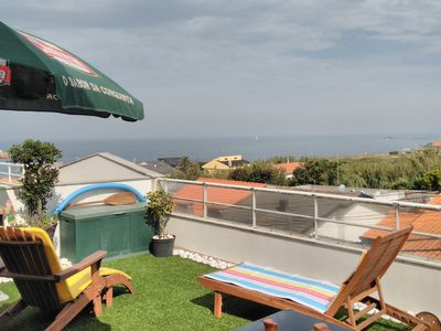 Photo for Vila Chã beach apartment / terrace, 2/4 peoples, sea views / barbecue / snooker table.
