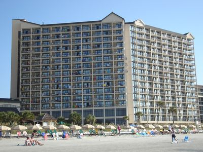 Our Building from the Beach.  Our condo looks straight out to the Ocean!