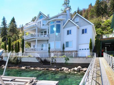 Photo for Upscale lakefront house - spacious interior, dock & boat lift, stunning views!