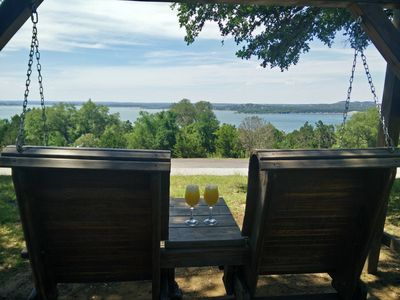Nothing better, Lake view, sipping Mimosa's & sitting on the Sunset Swing.