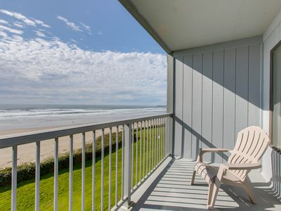 Photo for NEW LISTING! Modern oceanfront studio condo on Nye Beach w/ seasonal shared pool