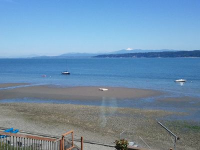 on beach with panoramic views of Port Susan, Mount Rainer and Cascade Mountains