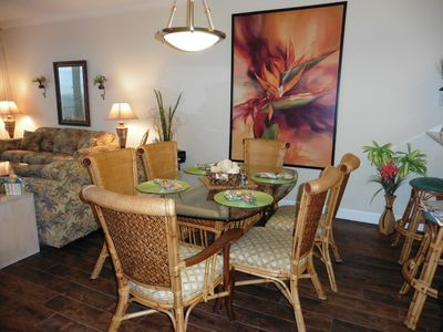 Dining room with stunning wall mural