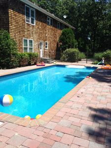 Heated 40ft saline pool and deck in separate secure fenced area with all day sun