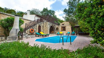"""Photo for Miliou Villa - Stone Built with Private Pool, Jacuzzi Tub, Secluded Garden located in the Beautiful """"Green Awarded"""" Miliou Valley! - Free WiFi"""