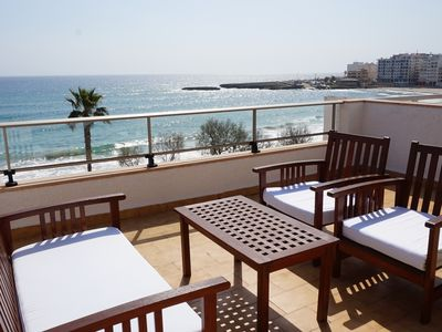 Photo for Apartment with terrace by the beach with sea view - Antic 301