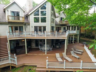 Large lakefront near Wisp resort w/ private dock, private sauna, 2 hot tubs!