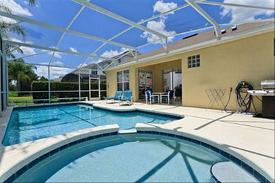 South Facing Pool with Spillover Spa, Patio Furniture & Gas BBQ Grill