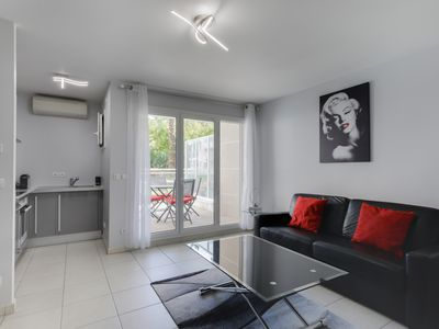 Photo for Modern studio with terrace in classy residence, centre of Cannes