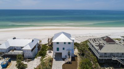 Sunsation is a newly renovated Gulf front home in Secluded Dunes.