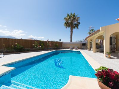 Photo for Peaceful 3 beds 2 bath villa with heated pool and garden overlooking mountains
