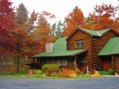 Photo for Beautiful Log Cabin on 9 Secluded Acres on Big St Germain Lake!