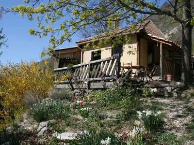 Photo for Wooden chalet in the park of Provencal baronnies in the heart of an eco-hamlet