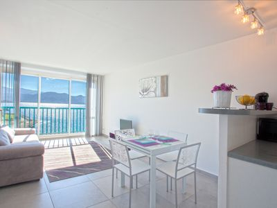 Photo for Air-conditioned studio, panoramic view on St-Florent and its gulf, Access beach.