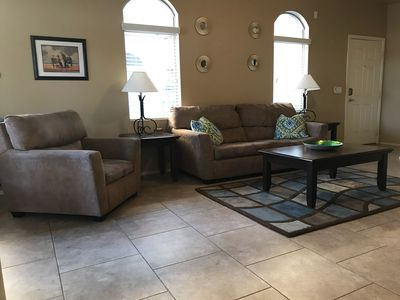 Great room with pull out queen sized couch.  Updated tile floors.