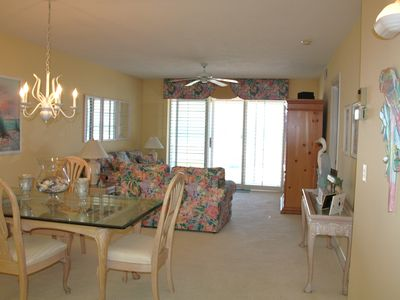 Bright and Sunny Living Room Dining Room, combination.  Gorgeous ocean view