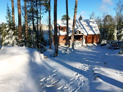 Photo for Lots of Snow for Snowmobiling - Beautiful Log Cabin on The Lake Sleeps up to 10