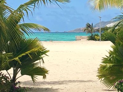 on the beach! beautiful one bedroom all renovated sea view tropical garden pools