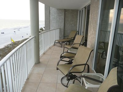 Long extended balcony on 4th floor overlooking the beach.  Awesome sunsets!