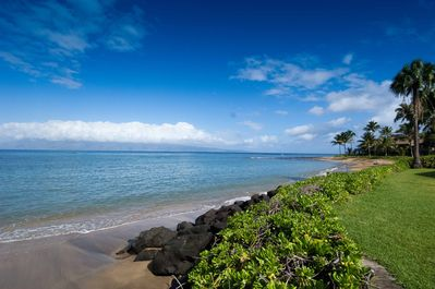 View of Molokai & beach to Northwest; a second beach is also just steps away!