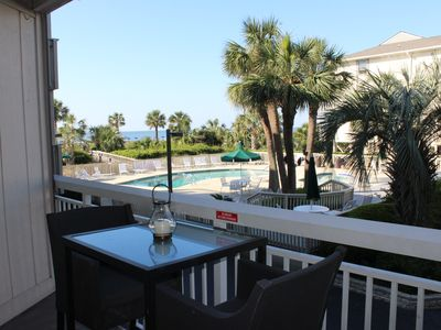 Photo for Oceanfront condo, steps to beach & pool, across from Coligny Plaza