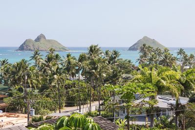 View of Moku Nui and Moku Iki, better known as the Mokes,  from our Studio deck.