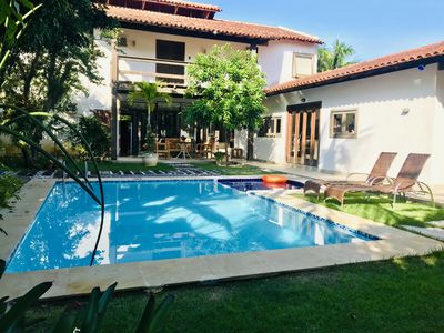Photo for Beautiful house with pool, barbecue 5 minutes from the beach. Cond. Closed