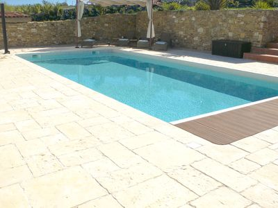 Enjoy the 10 x 5 heated pool.  Relax on these comfortable rattan sun loungers