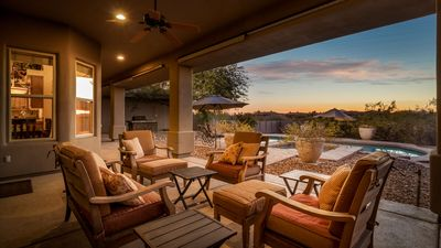 Photo for Private Poo/ Hot Tub. Rustic Furnishings. Outdoor Fireplace.