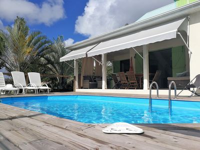 Photo for Comfortable villa, swimming pool, tropical garden, near beach st Anne, 8 pers